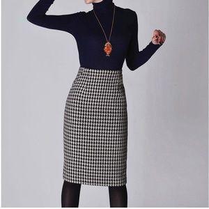 Zara Wool Houndstooth Pencil Skirt